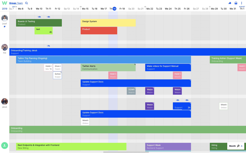 Toggl Plan team management