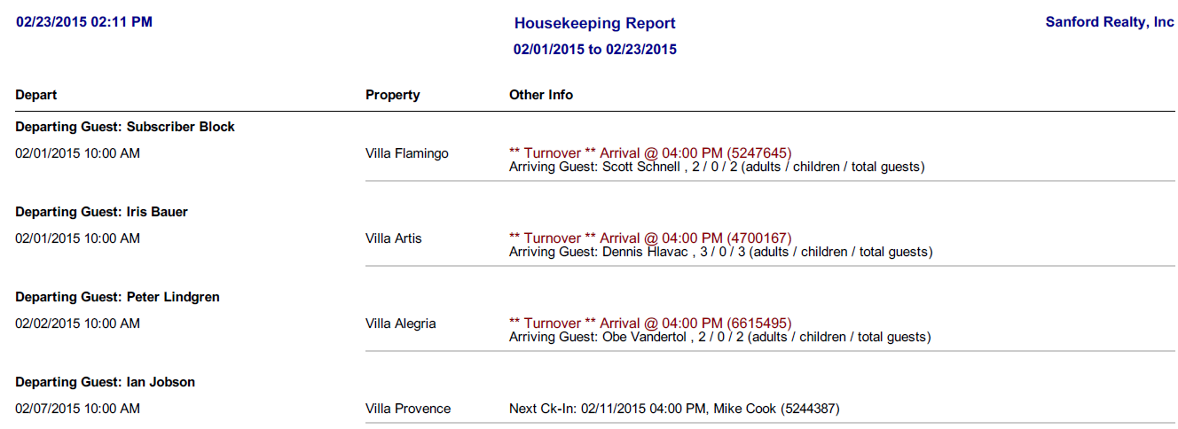 Lodgix generates housekeeping reports to keep staff informed of check-ins and check-outs
