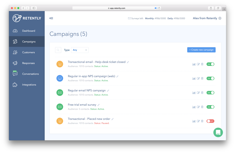 Retently screenshot: Setup and manage multiple NPS campaigns