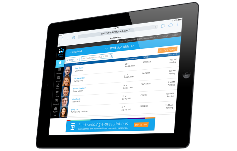 Practice Fusion charting view for charting patient schedules