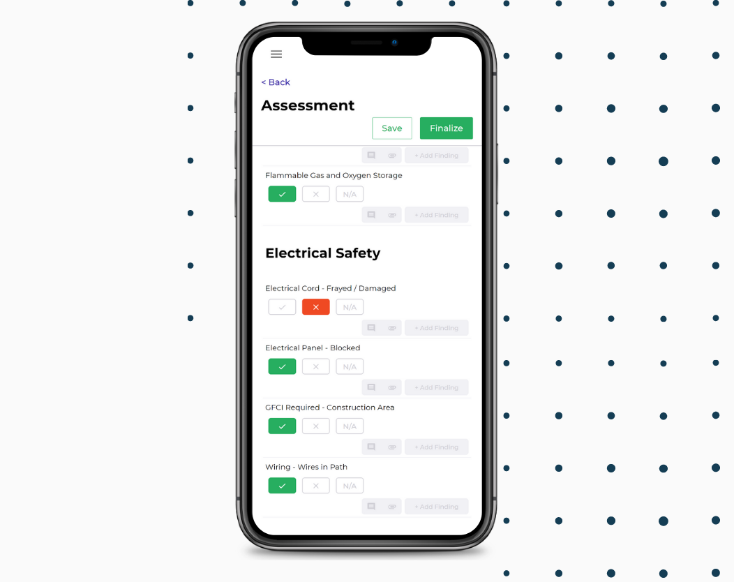 Salute Safety screenshot: Salute Screenshot: Conduct inspections, create findings, and assign corrective actions directly from the field with your mobile device. Create your own checklists and assessments or use one of our templates.