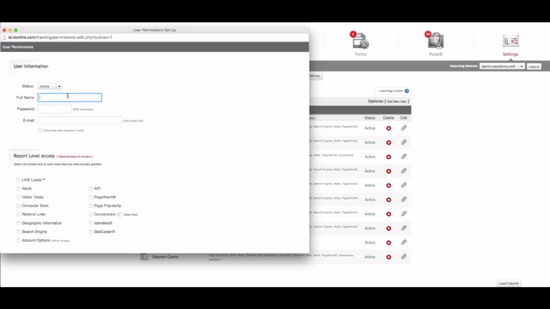 KickFire LIVE Leads - Creating user permissions