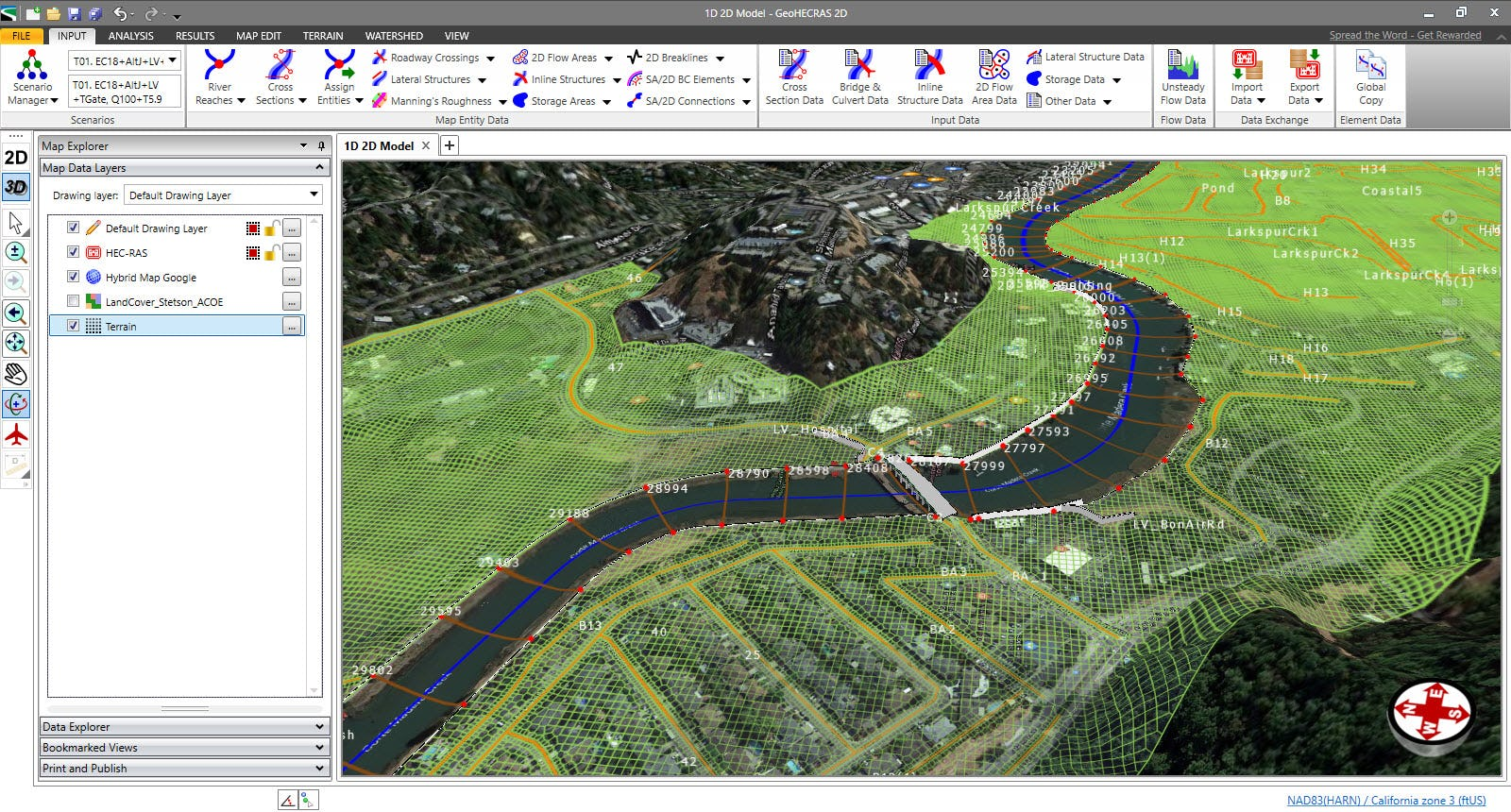 Quickly build 1D and 2D HEC-RAS models using the provided CAD/GIS tools.