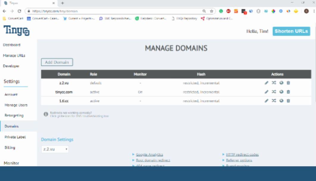 Tinycc add domain