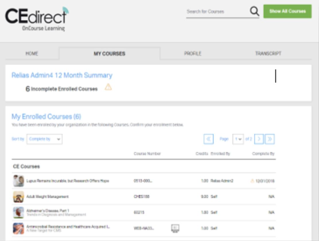 CE Direct enrolled courses