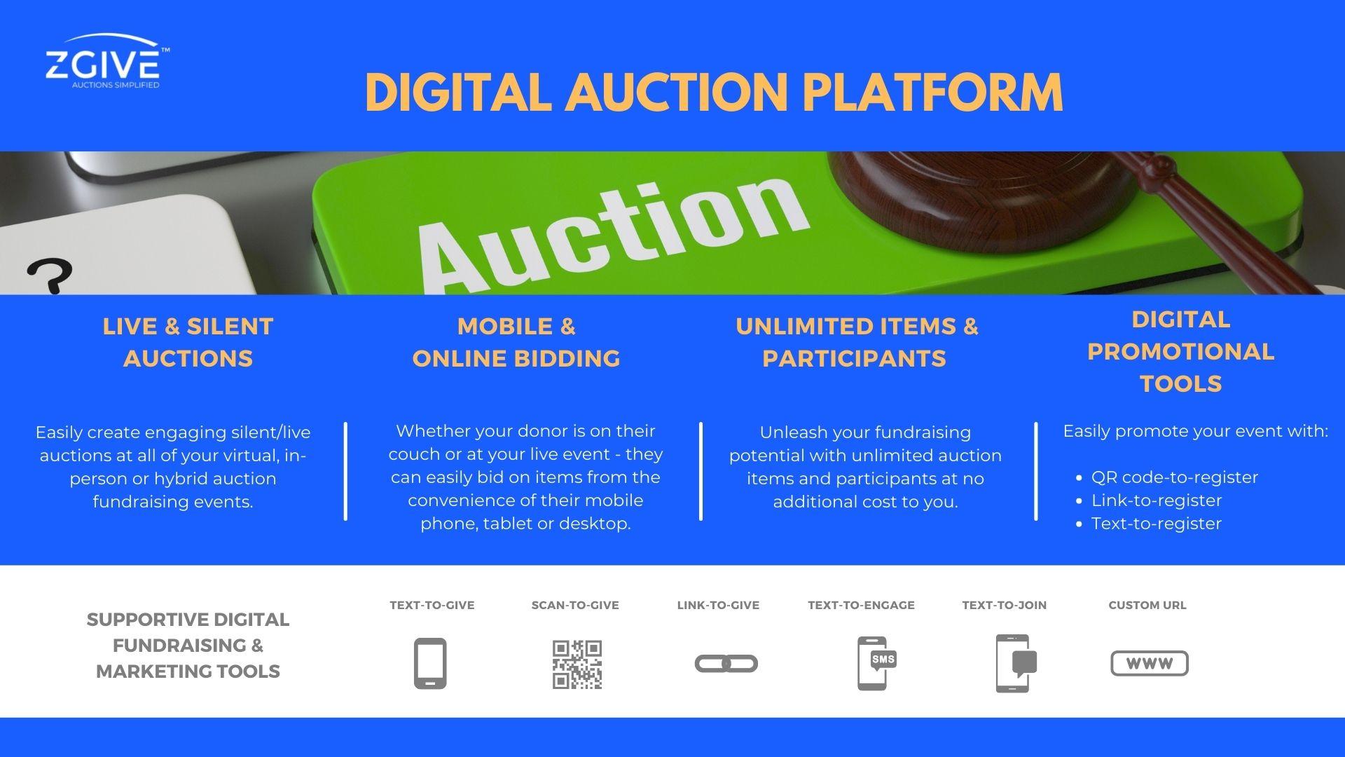 ZGIVE Digital Auction Platform Offerings