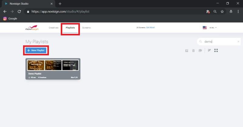 NoviSign Software - NoviSign Digital Signage allows users to create a playlist