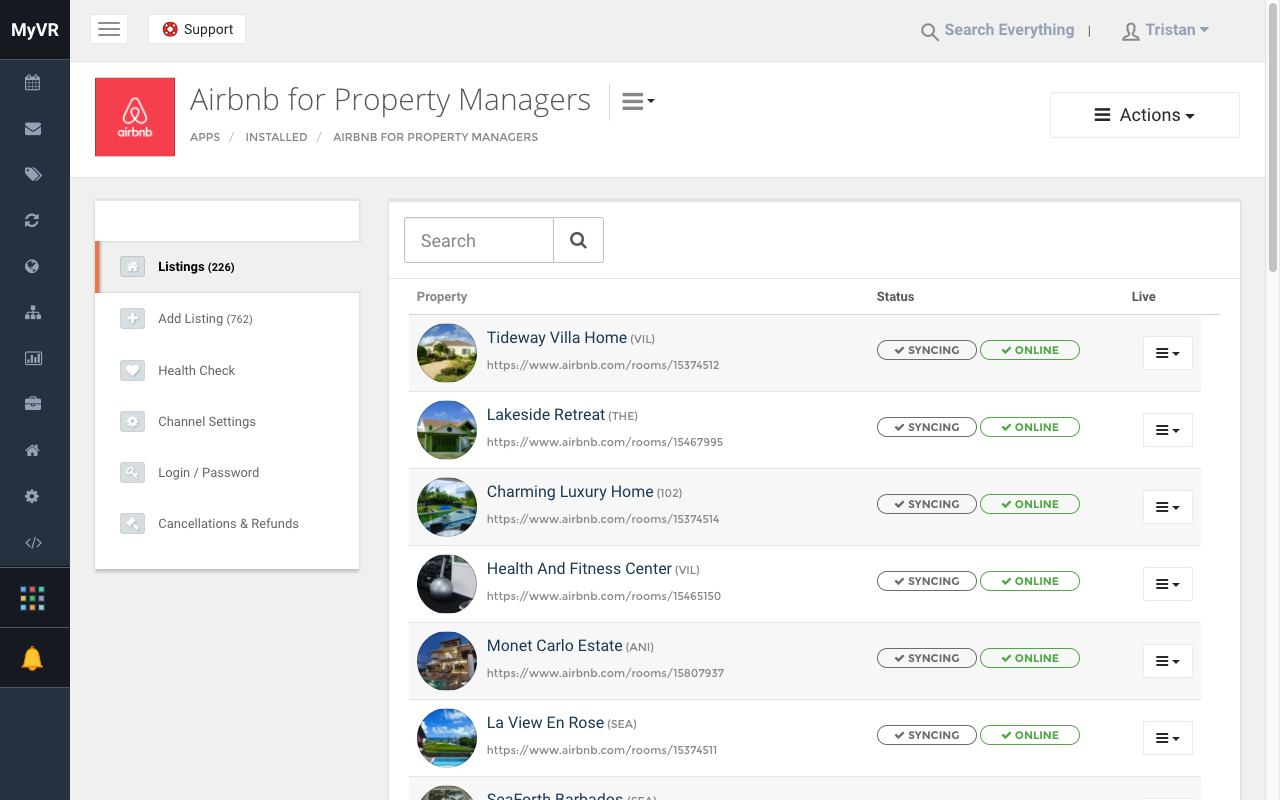 MyVR screenshot: Automatically list your properties across 70+ premium listings sites. MyVR offers users centralized management of their advertising across Airbnb, HomeAway, TripAdvisor, Booking.com, Expedia and more!