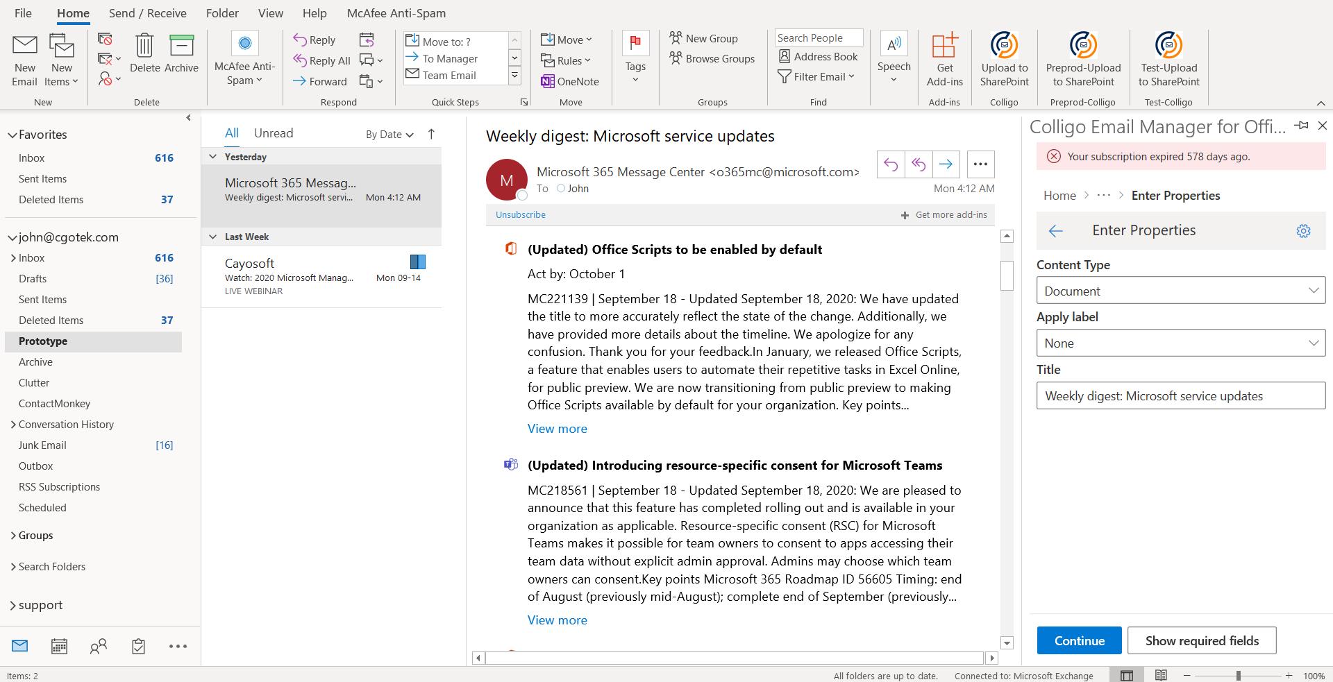Email Manager for Microsoft 365 screenshot: Colligo Email Manager for Microsoft 365 prototype