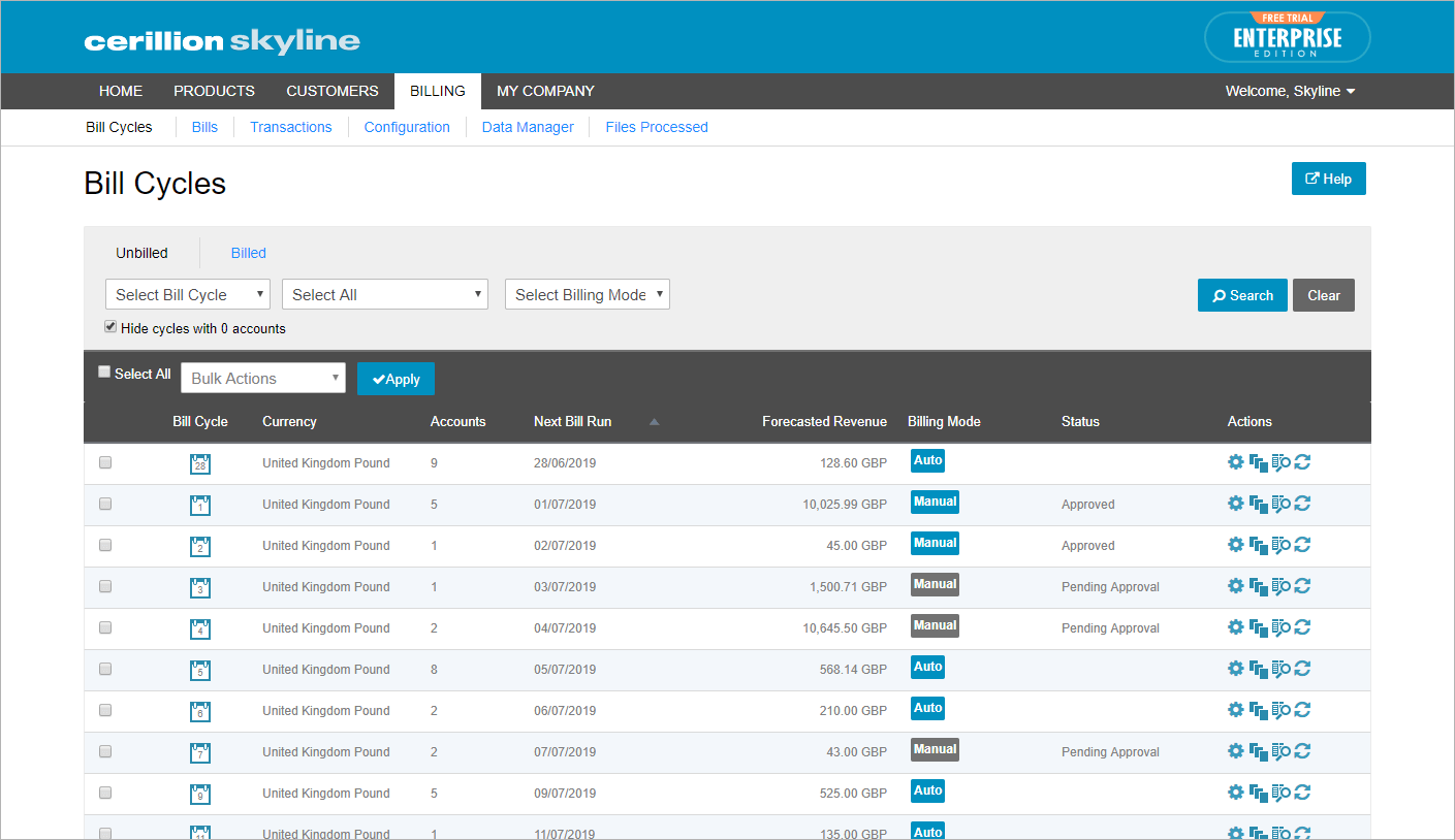 Billing dashboard that allows users configure and manage bill cycles