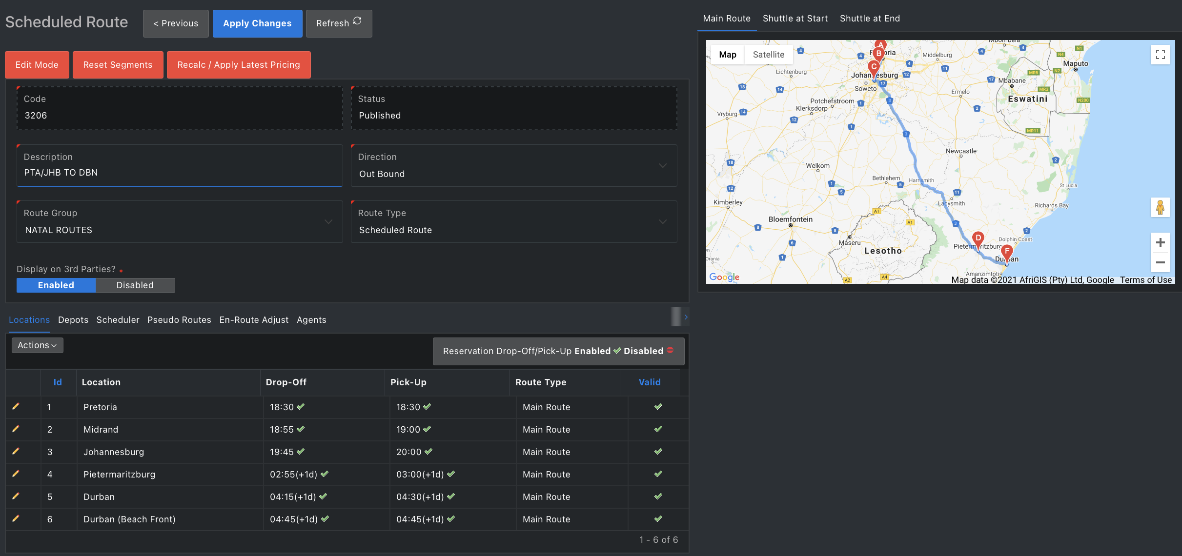 Ratality routes planner