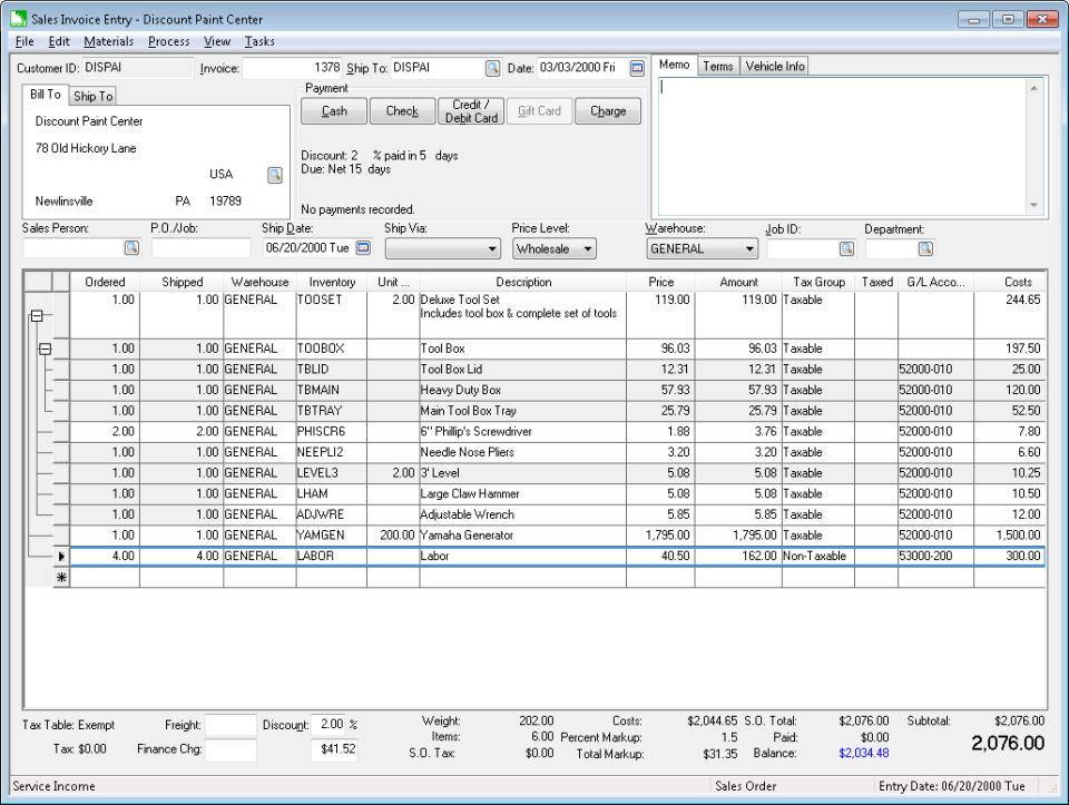 EBMS sales invoice
