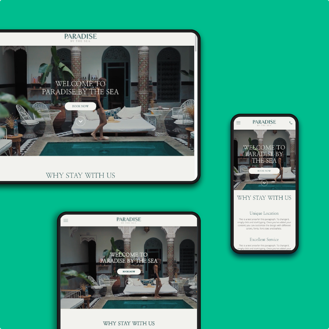 Made for each device. Looks amazing on every screen. All templates are fully responsive and mobile optimised. Switch device views as you build your website and make edits by device.
