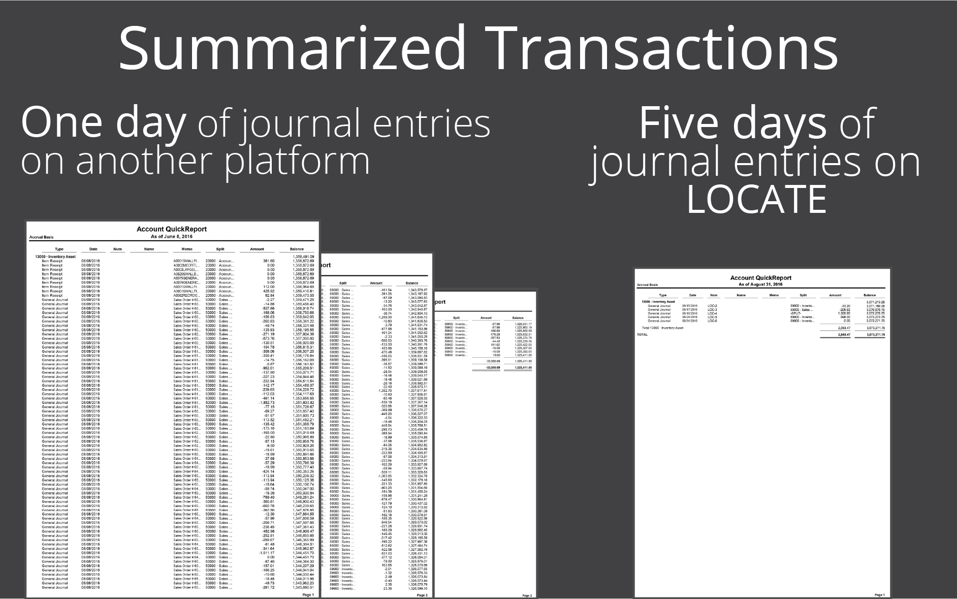Keep your financial platform running lean and clean with LOCATE's summarized accounting
