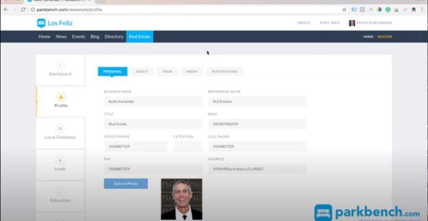 Parkbench user profile