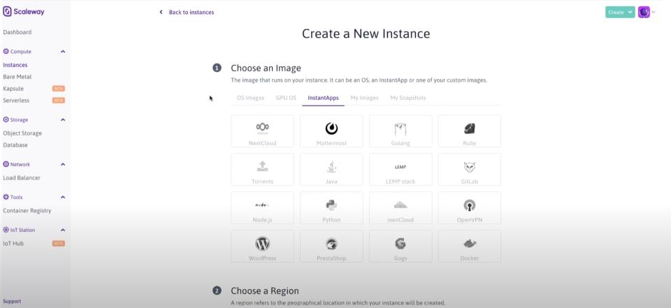 Scaleway create a new instance