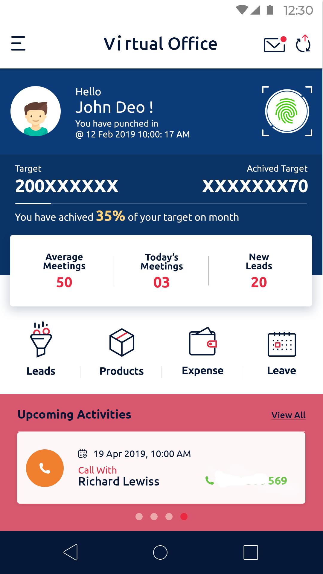 SALESFOKUZ Mobile App dashboard for field executives