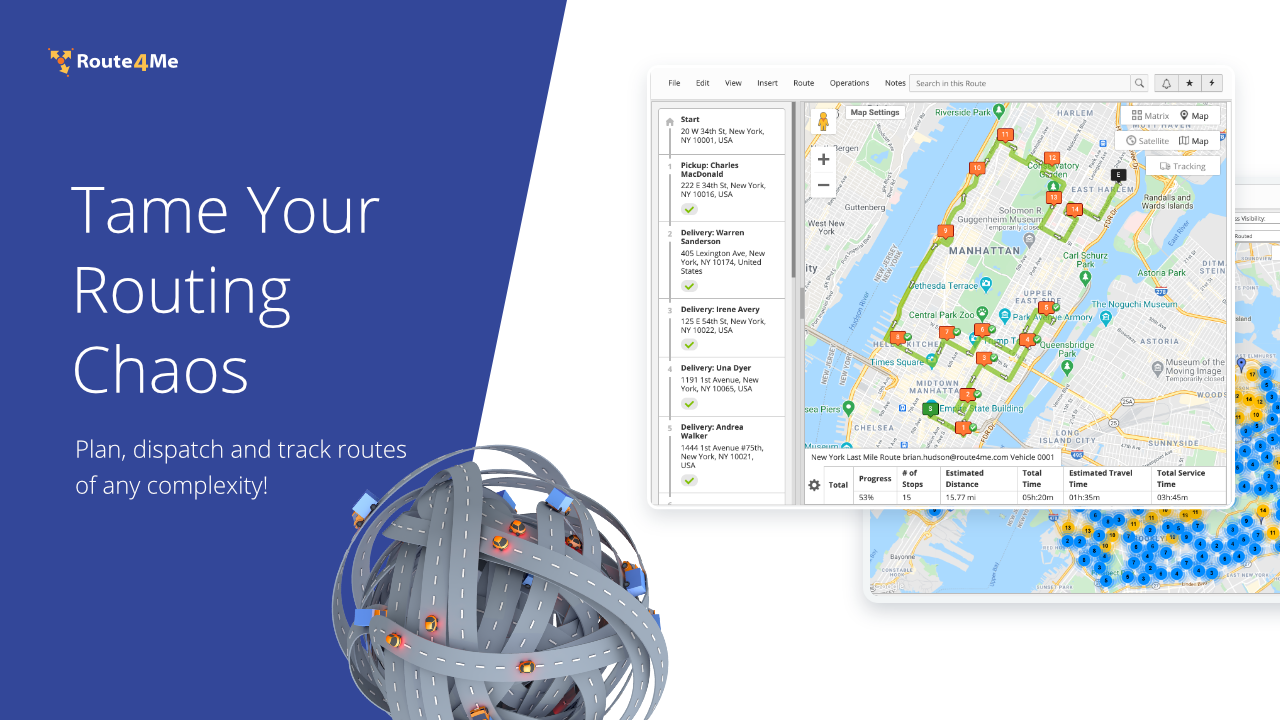 Routing Chaos Finally Solved, with Route4Me!  Plan, Dispatch, and Track Routes of any Complexity