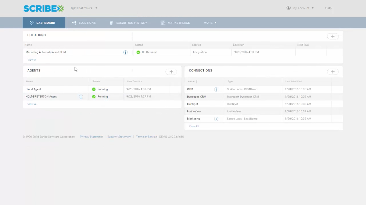 View status, configuration, and running of any integration