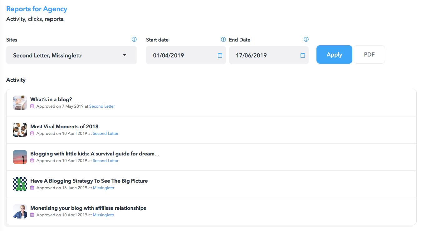 Missinglettr Software - Missinglettr reports