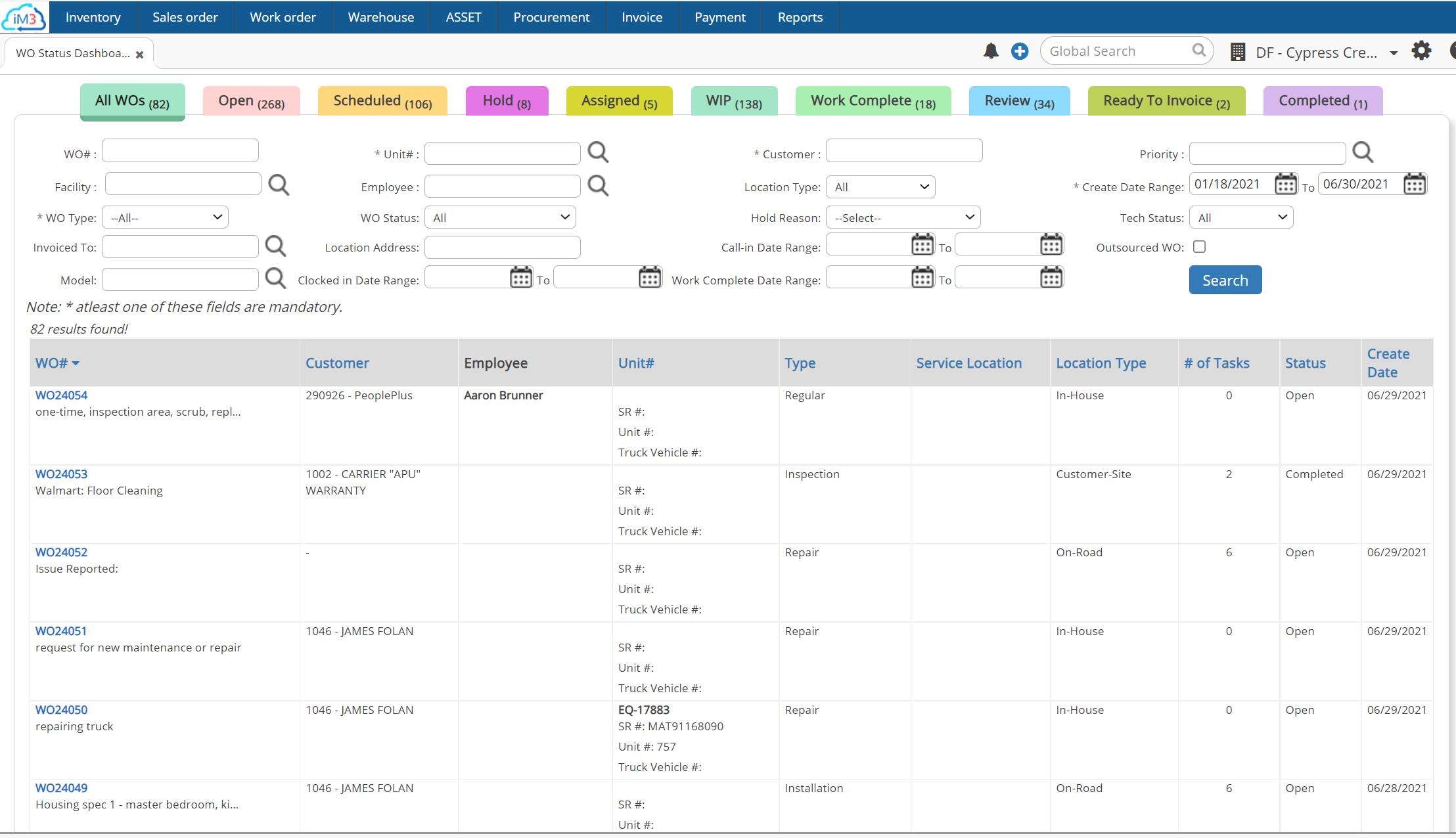 Asset Management: Work Order Management, Track Statuses
