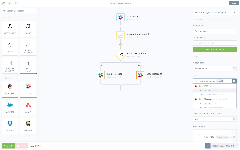 Tray.io Software - Tray.io drag-and-drop workflow editor