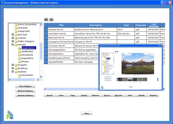 MuniLogic document management view with querying & version control features