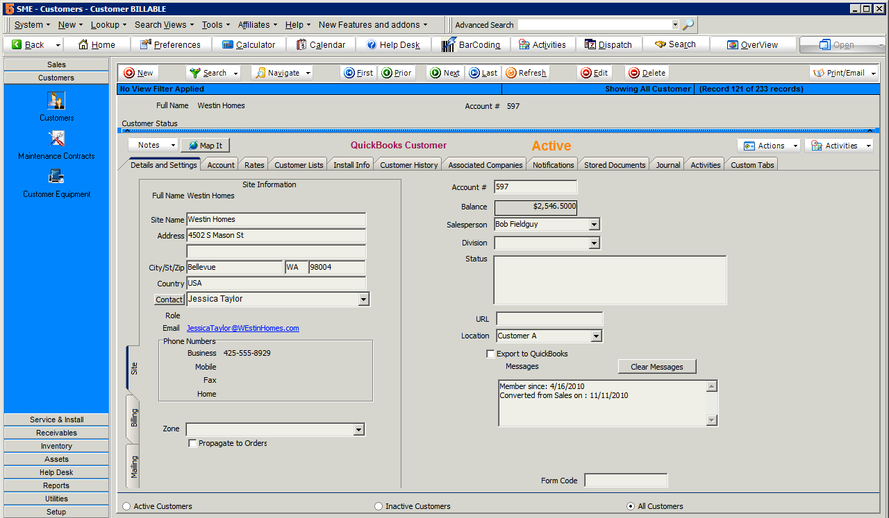 All data is synchronized with the SME Complete and QuickBooks integration feature.