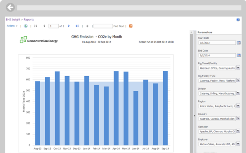 EHS Insight screenshot: EHS Insight Enterprise software can be used to accumulate data from across the organization and monitor the impact of carbon emission on the environment