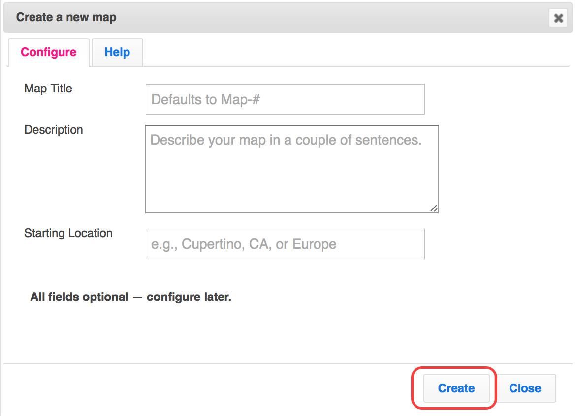 ZeeMaps configure new map