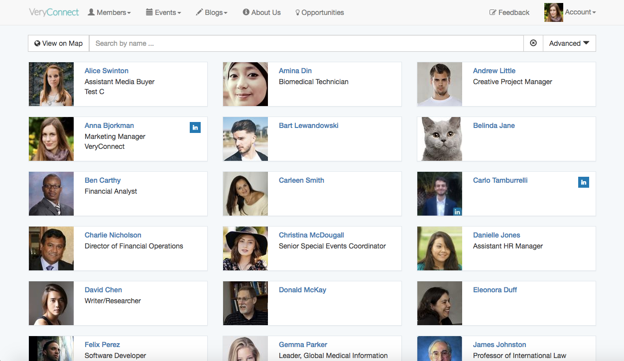 VeryConnect screenshot: The member directory lets you access member profiles
