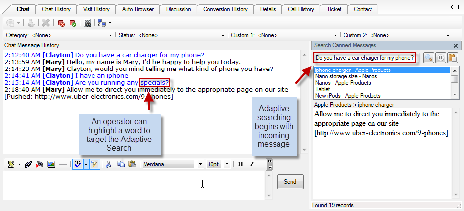 Genesys DX Software - An operator can highlight a word to target the adaptive search