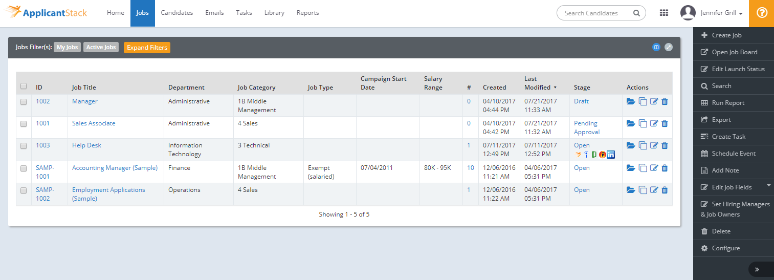ApplicantStack Recruit Jobs tab displays all of your current and active jobs to easily see where your jobs are posted.