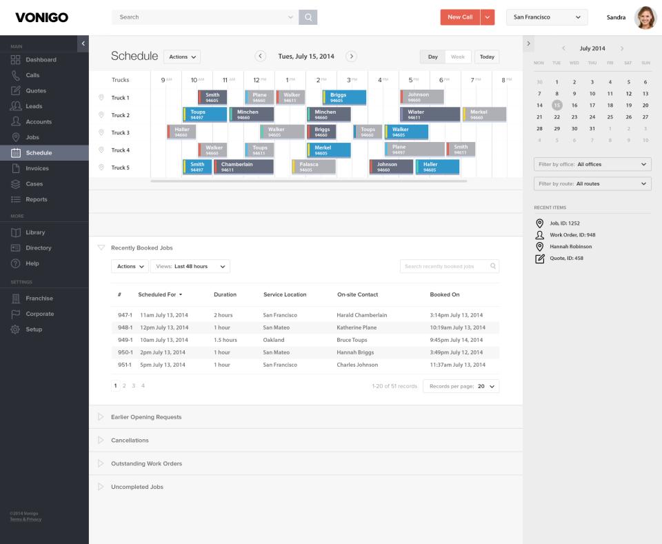 Vonigo Software - Desktop View