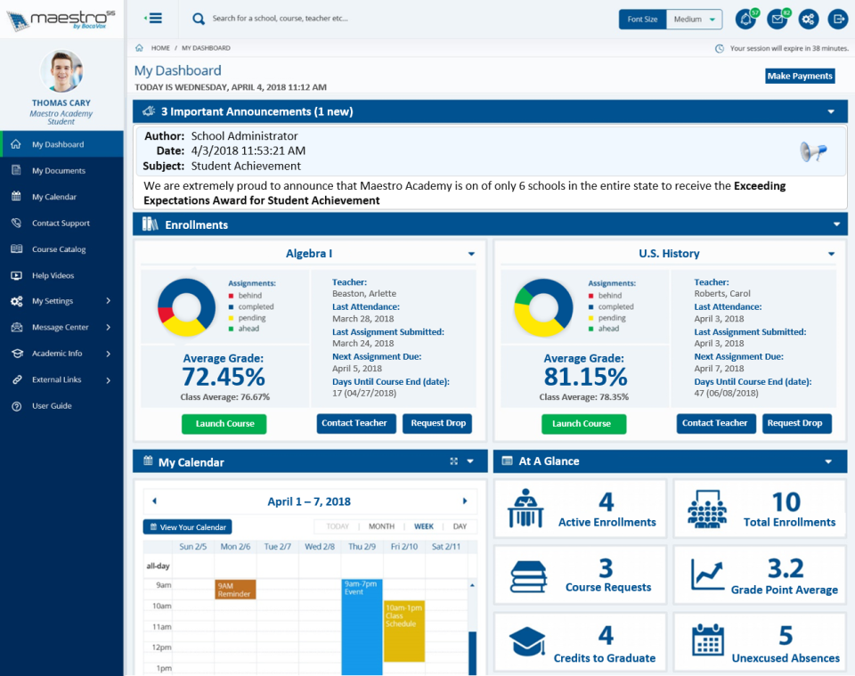 Maestro SIS student dashboard screenshot
