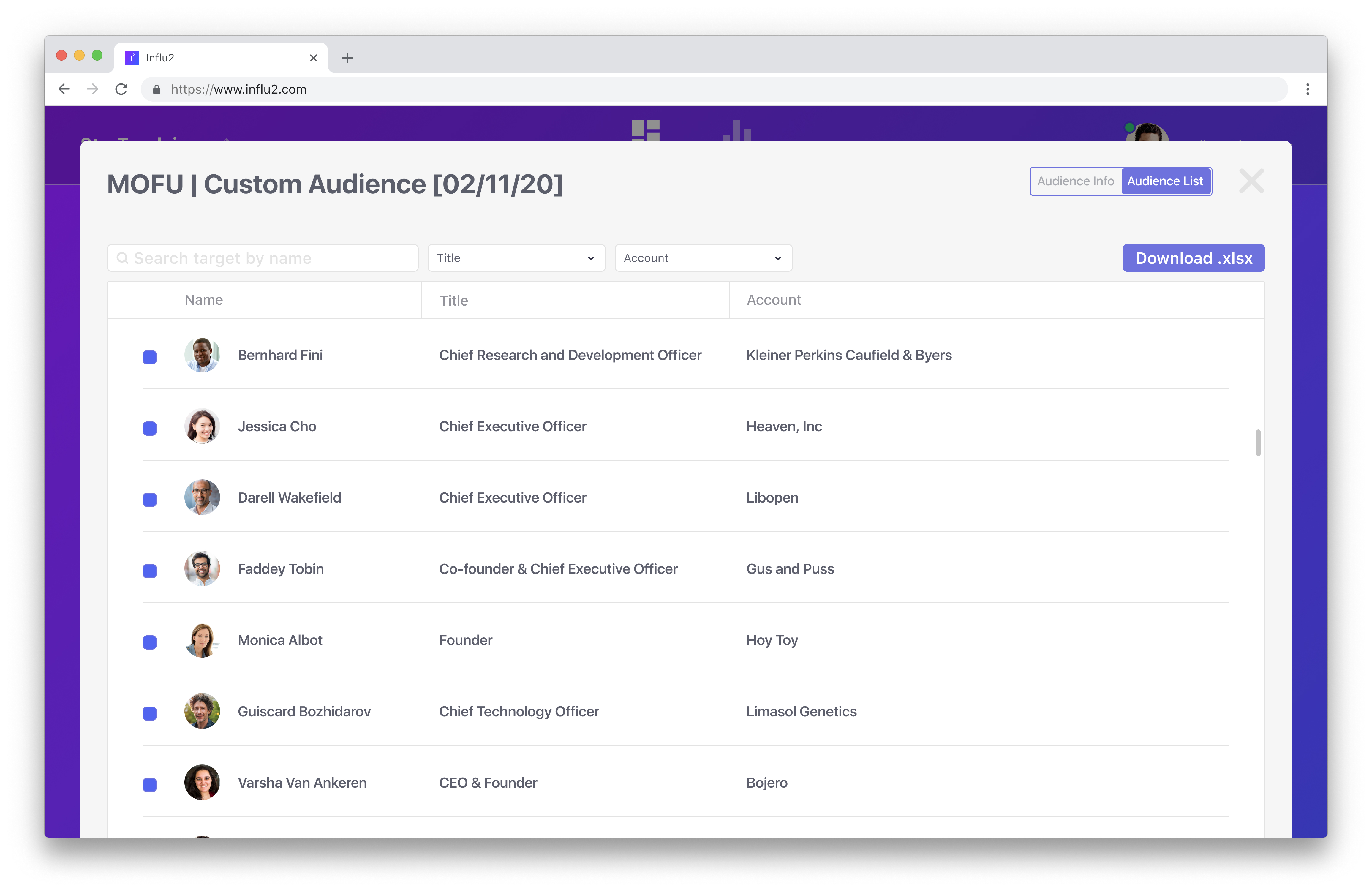 Review your audience. View your list and apply any edits as needed.