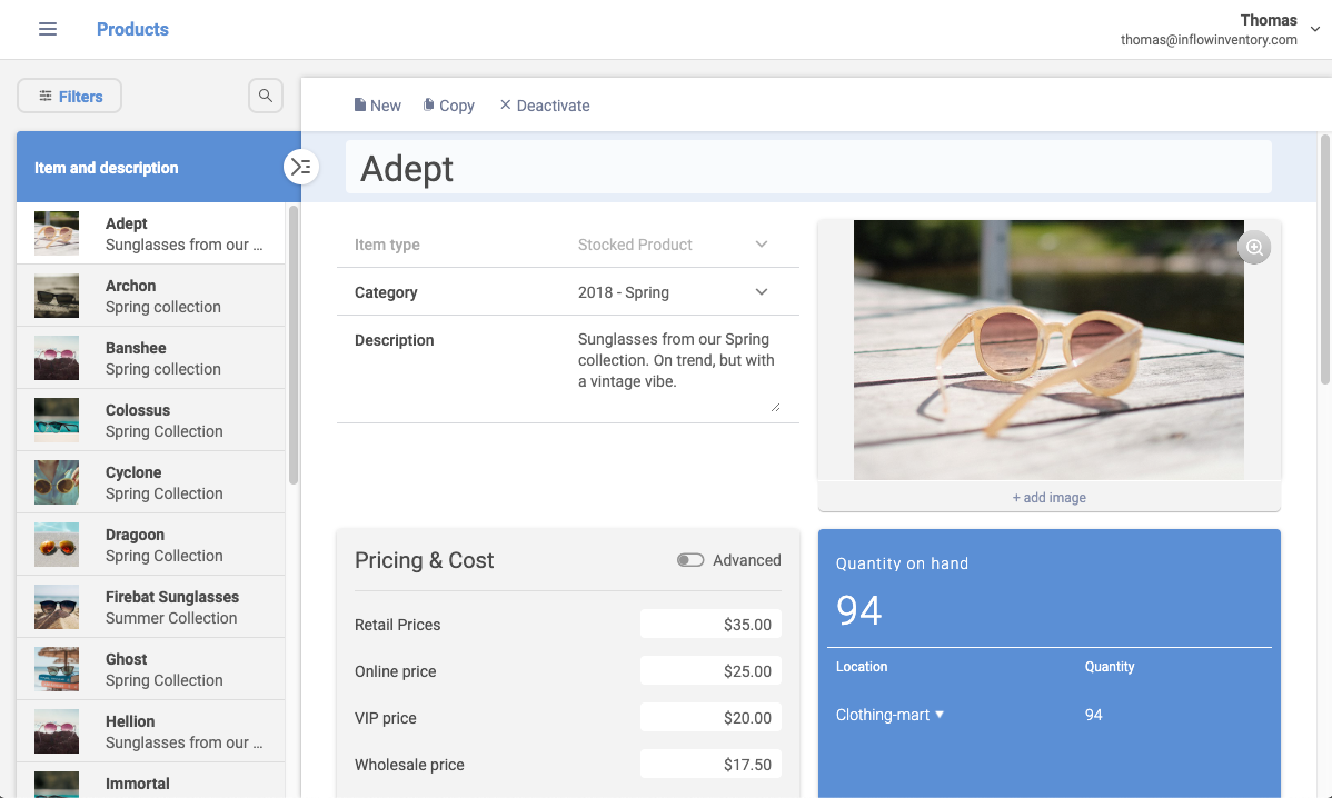 The product details screen shows costs, pricing, stocks levels and more.