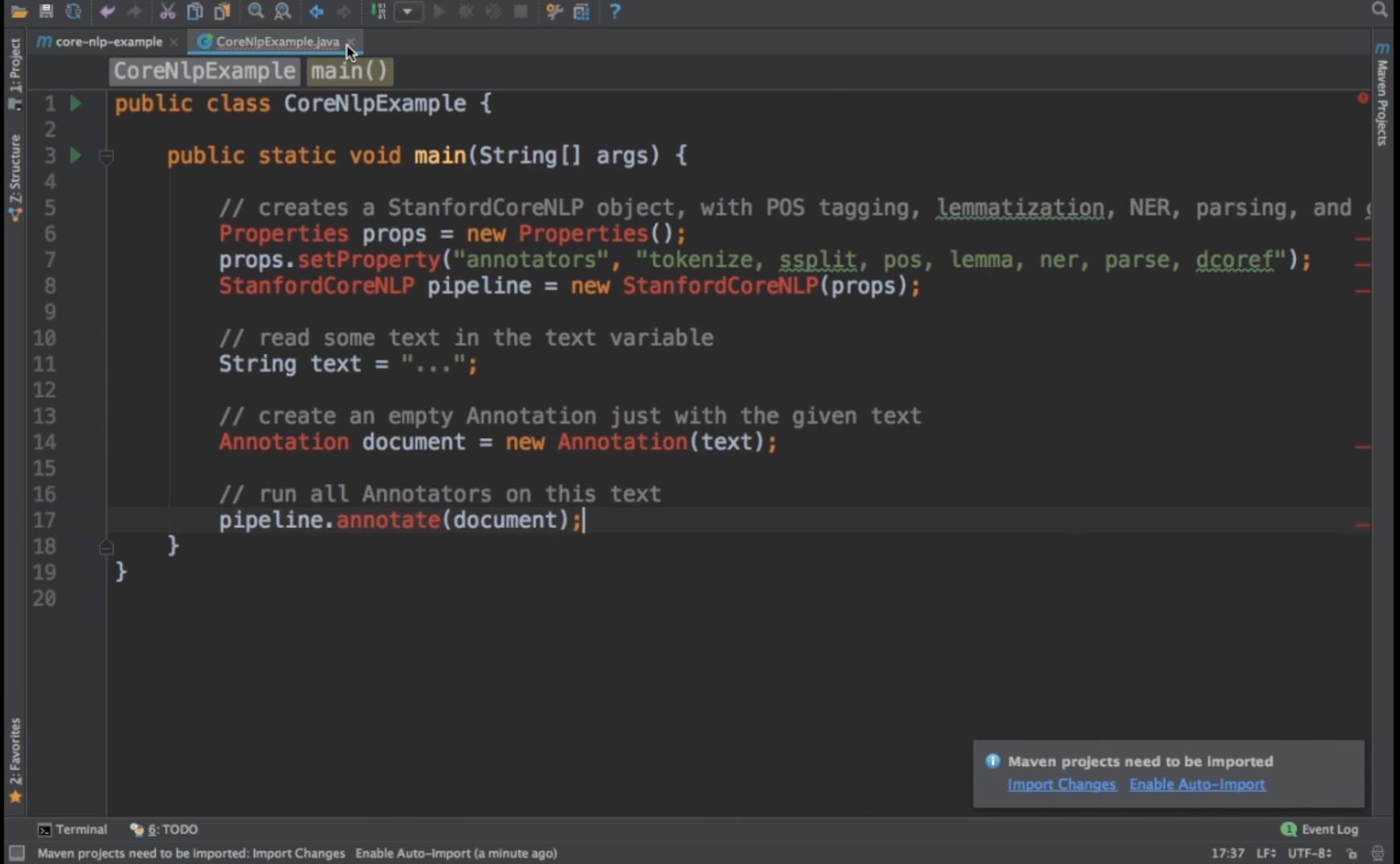 CoreNLP Software - CoreNLP new project