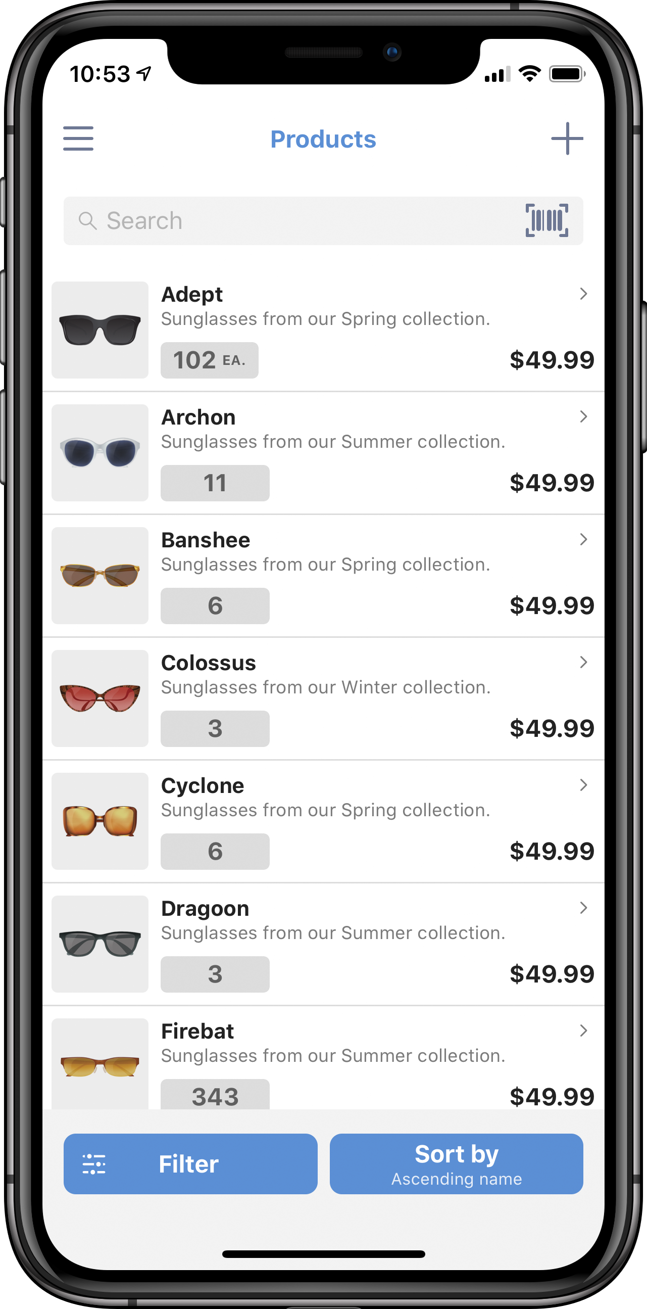 inFlow Inventory Mobile Dashboard