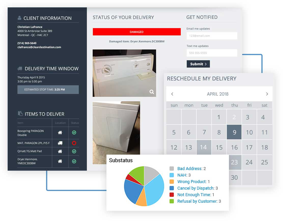 A customizable reverse logistics module supports the order returns process with adjustable vendor / retailer rules, documentation of condition of goods and  alerts on any changes at each stage of the delivery process