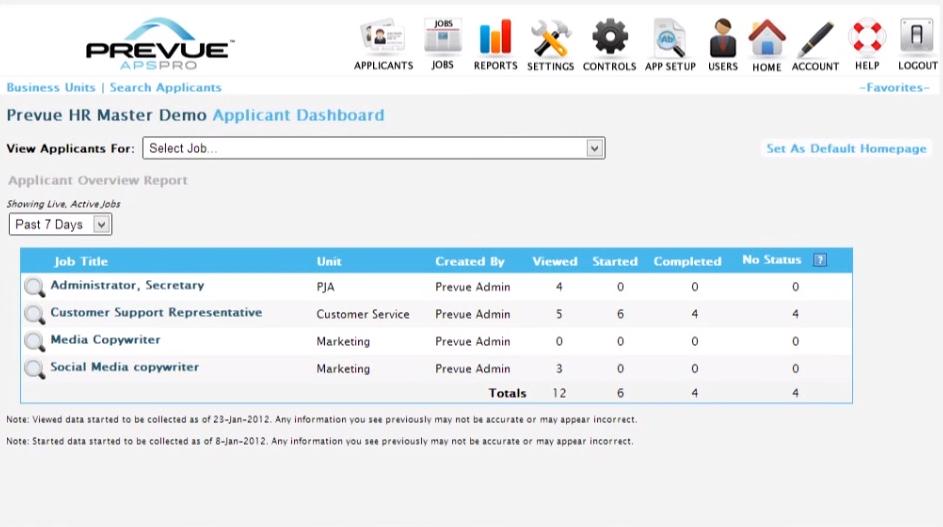 Prevue HR applicant dashboard screenshot
