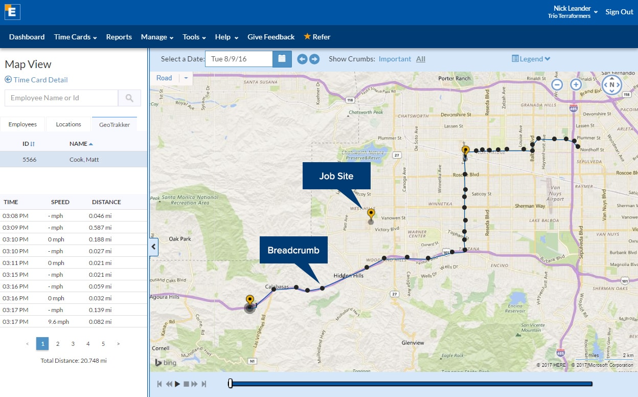 The GeoTrakker feature runs in the background to track and plot GPS breadcrumbs showing employee movements out in the field