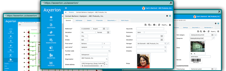 Axxerion screenshot: Manage contacts and associated documents