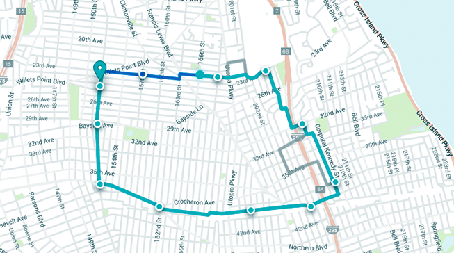Real-time last mile tracking on a map interface