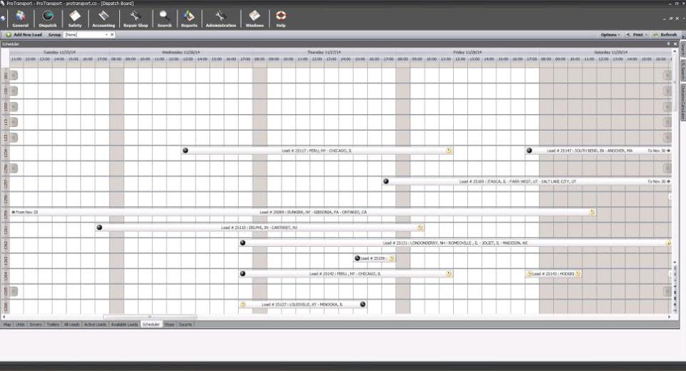ProTransport Gantt chart scheduling screenshot