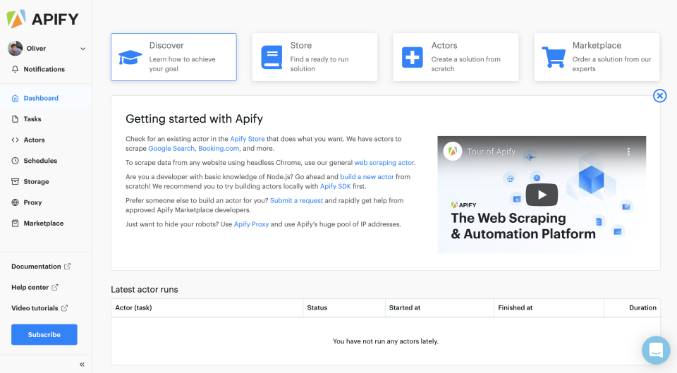 Apify Platform - dashboard, powerful web scraping and web automation platform. Developers' #1 choice for all data extraction and web automation projects.