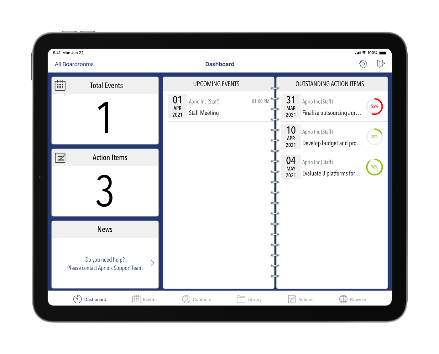 Aprio Software - Dashboard