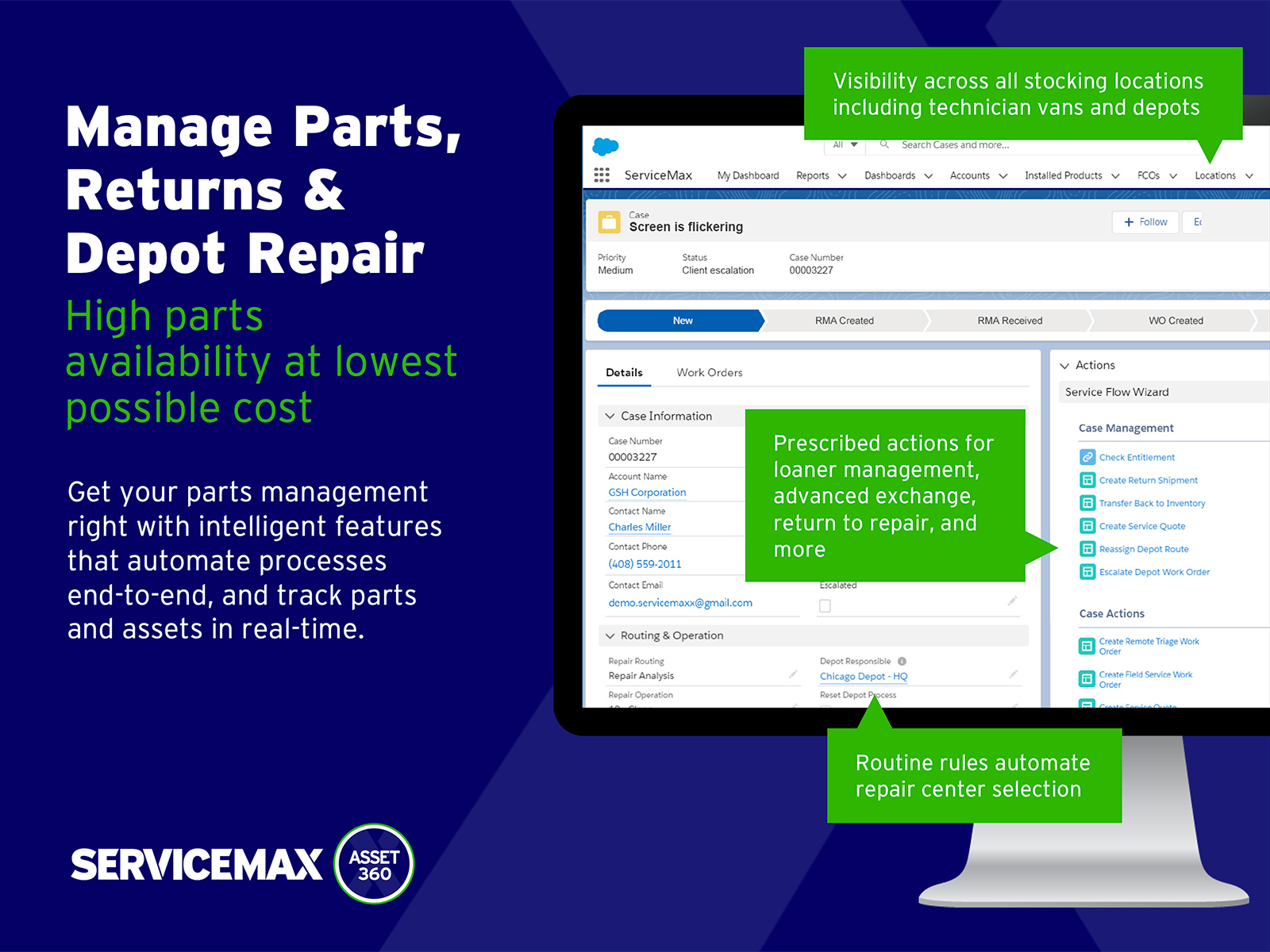 ServiceMax Software - Make your inventory processes more efficient with spare parts, returns and depot repair management with Asset 360.