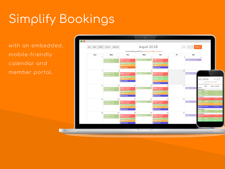 Simplify bookings with an embedded, mobile-friendly calendar and member app.