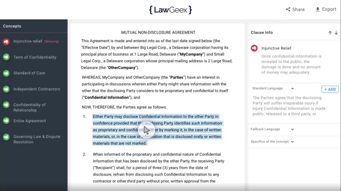 LawGeex editing